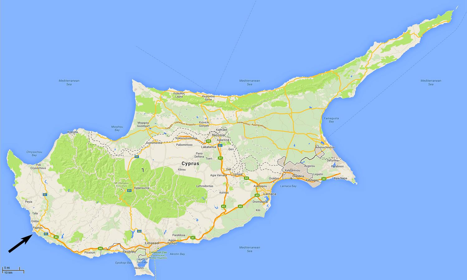 Cyprus Airports Map Map Of Cyprus Showing Airports Southern