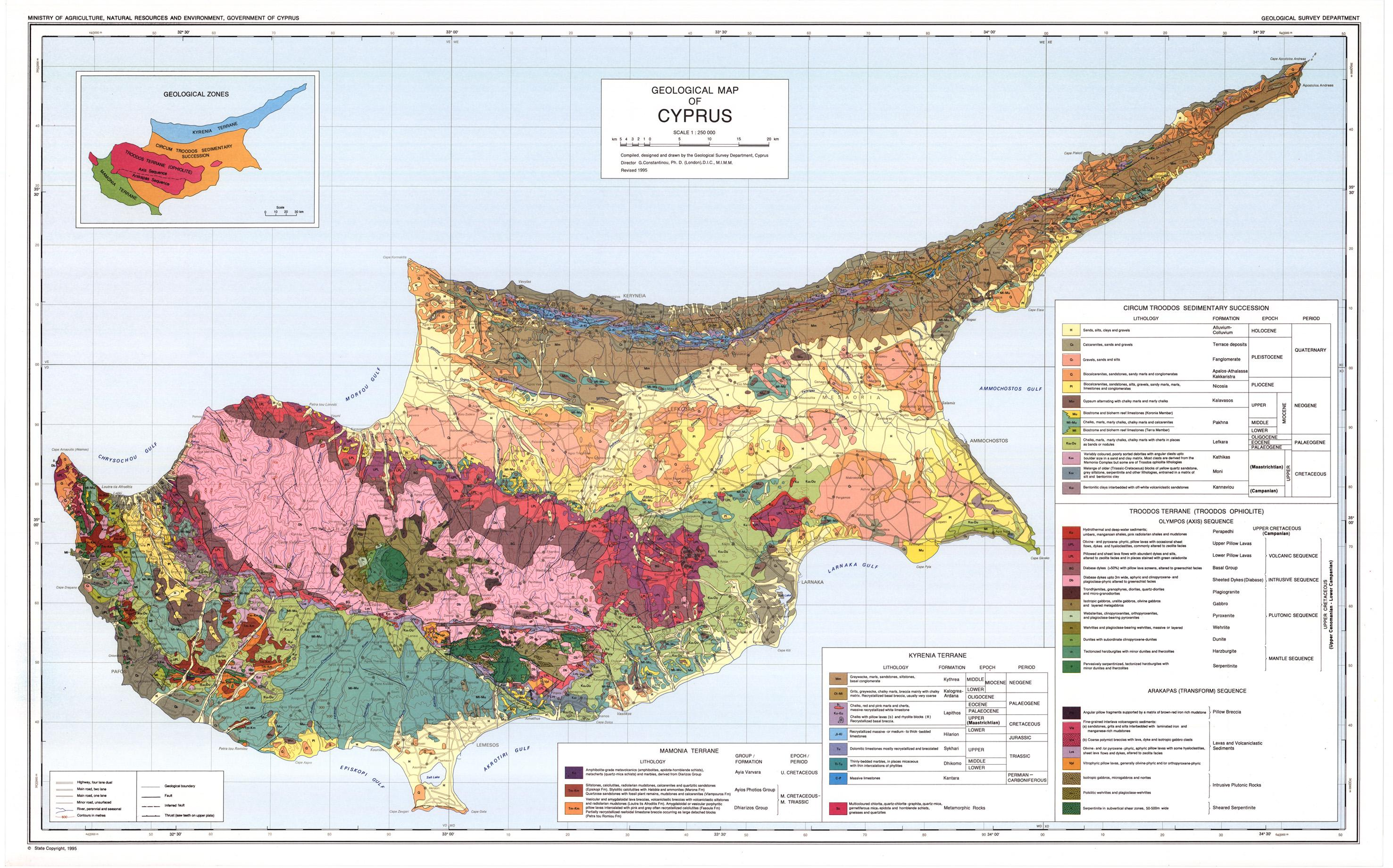 Geological Map Of Cyprus Cyprus Geographical Map Southern Europe