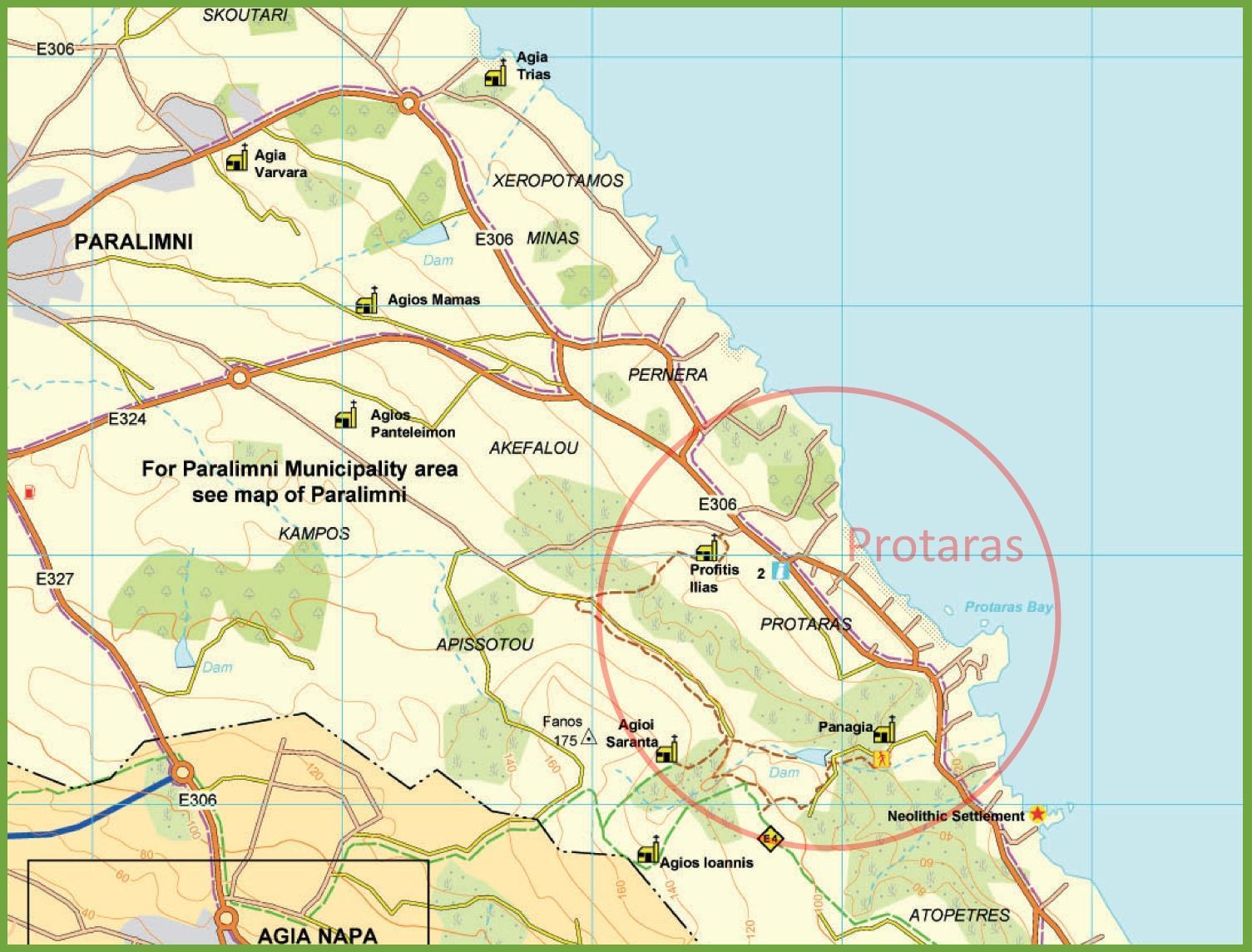 Map Of Cyprus Showing Protaras Street Map Of Protaras Cyprus