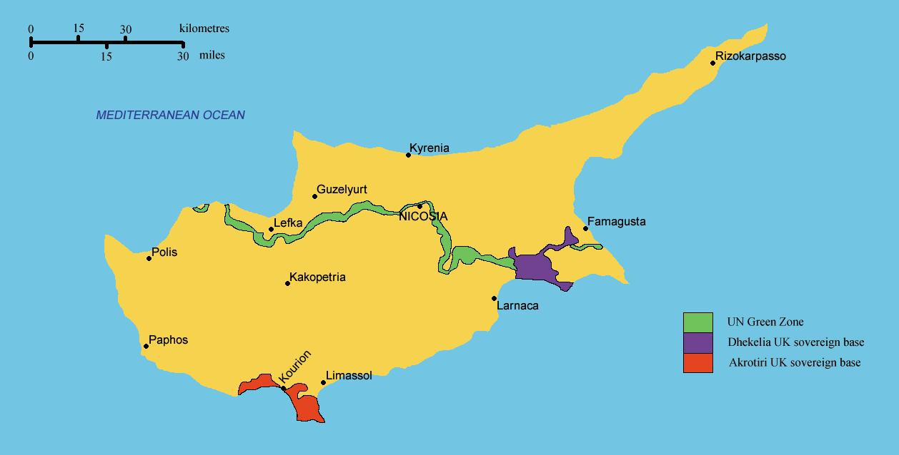 South Cyprus map - Map of southern Cyprus (Southern Europe ...