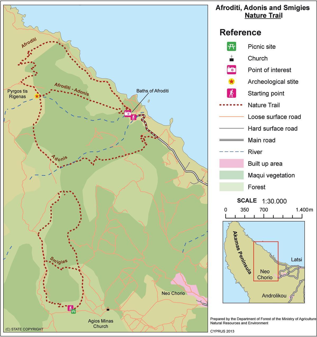 Aphrodite Trail Cyprus Map Map Of Aphrodite Trail Cyprus Southern