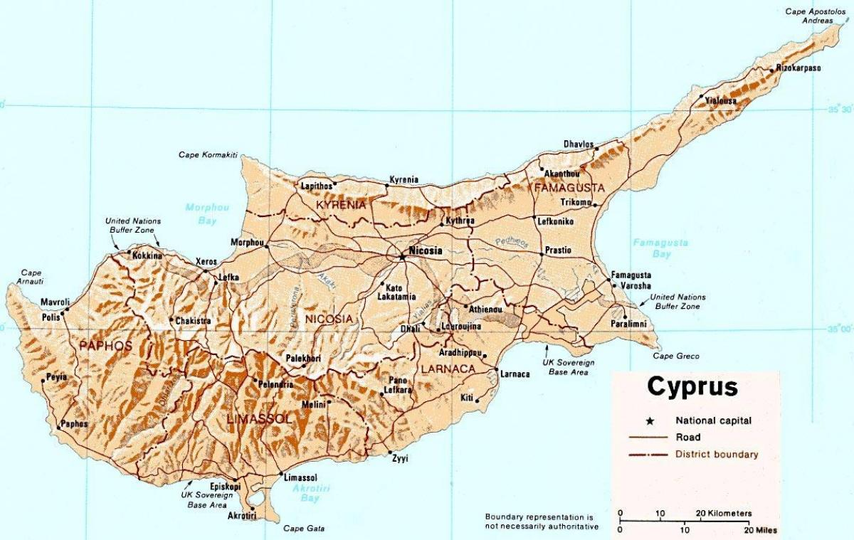 detailed map of Cyprus island