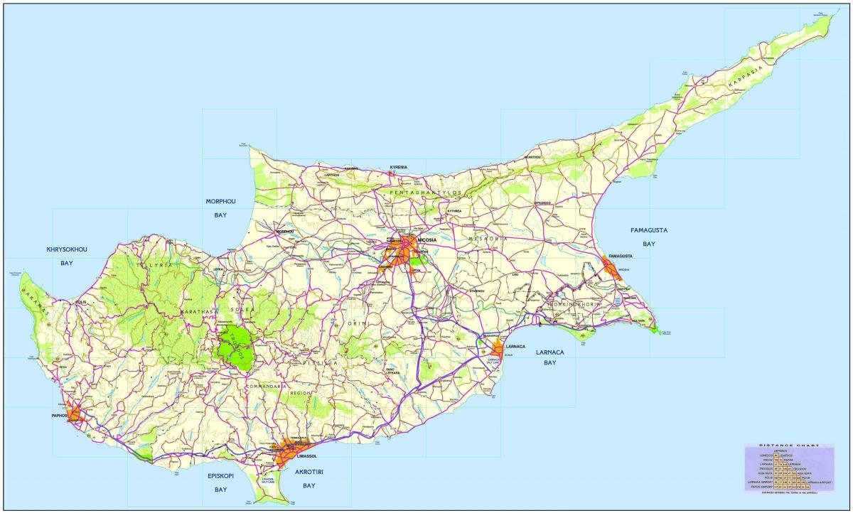 Map of road Cyprus
