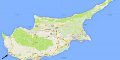 Map of Cyprus showing airports